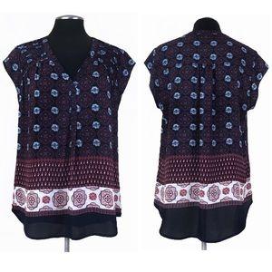 Black Rainn - Pleated Shoulder Mixed Print Pullover Top